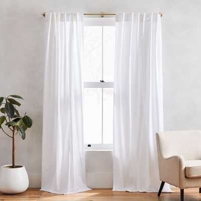 "Cotton Canvas Pole Pocket Curtain, 48""x96"", White, Set of 2 Unlined - West Elm"