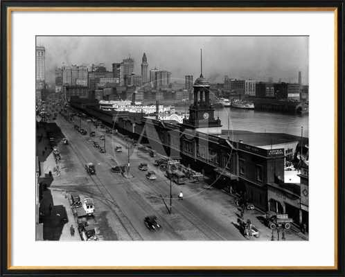 "Light Street, Baltimore, Maryland 1924; Frame-Coventry Black; Glass-Acrylic clear; Mat- Crisp bright white; Finished- 40"" x 32"" - art.com"
