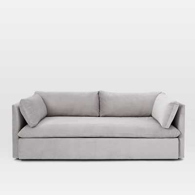Shelter Sofa, Performance Velvet, Dove Gray - West Elm