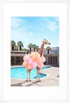"Giraffe Palm Springs - 26"" x 38"" - vector white - Society6"