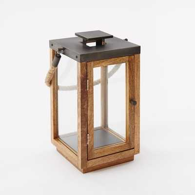 Wood + Rope Lantern, Natural/Grey, Short - West Elm