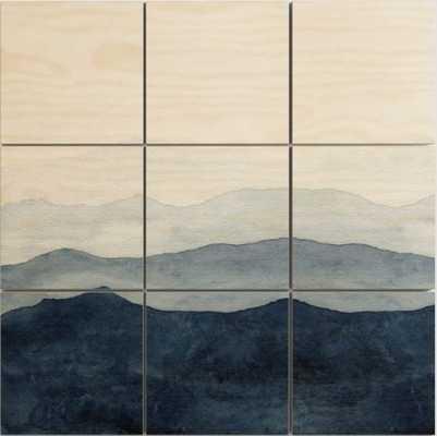 Indigo Abstract Watercolor Mountains Framed Art Print - Wood Wall Art - 5' x 5' - Society6