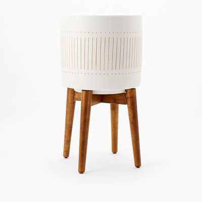 Mid Century Turned Wood Leg Planter, White + Gold, Tall - West Elm