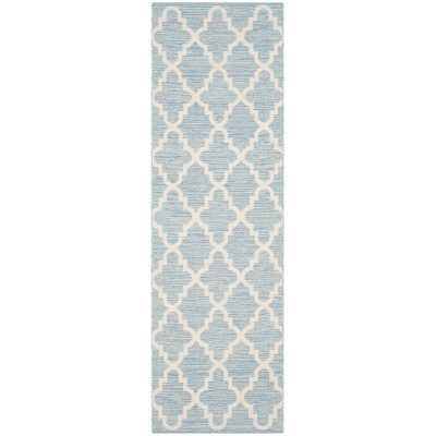 Valley Hand-Woven Cotton Blue/ Ivory Area Rug - Wayfair