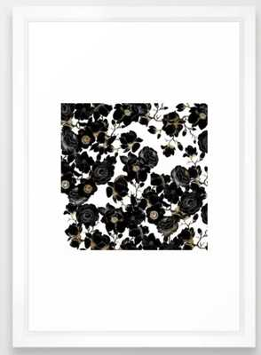 Modern Elegant Black White and Gold Floral Pattern Framed Art Print - Vector White, 15x21 - Society6