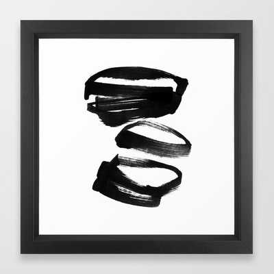 Black and White Abstract Shapes Ink Painting Framed Art Print - 12x12 - Society6