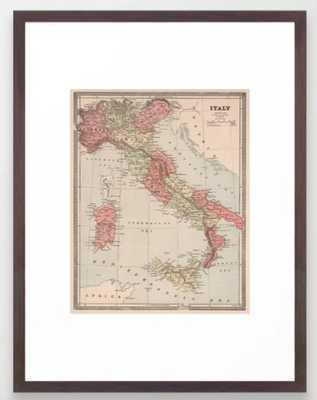 Vintage Map of Italy (1883) Framed Art Print - Society6