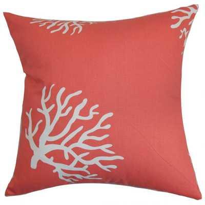 "Jessamine Coral Pillow Coral White - 22x22"" - down insert - Linen & Seam"