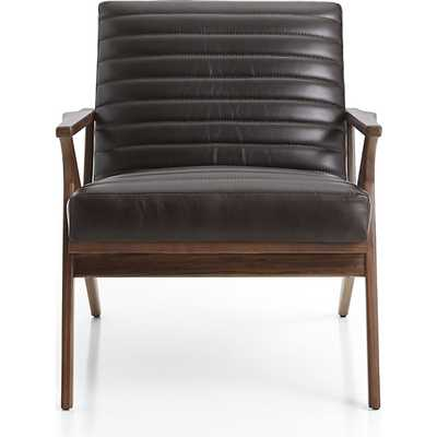 Cavett Leather Channel Chair - smoke - Crate and Barrel
