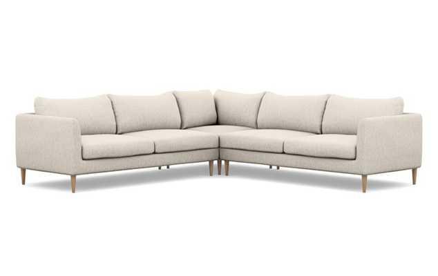Owens Corner Sectional Sofa Wheat Cross weave, Natural Oak - Interior Define