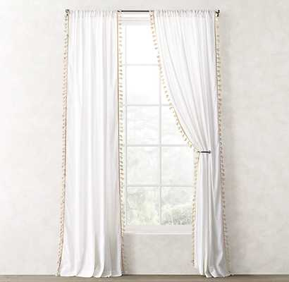 "TASSEL-TRIMMED VOILE DRAPERY PANEL - buttercream- 94"" x 50"" - RH Teen"