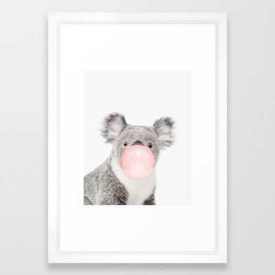 "Koala, Bubble gum, Pink, Animal, Nursery, Minimal, Trendy decor, Interior, Wall art Framed Art Print 15"" x 21"" - Vector White - Society6"