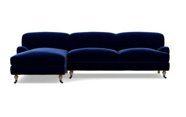 """ROSE BY THE EVERYGIRL Sectional Sofa with Left Chaise, White Oak with Antique Caster Legs, Oxford Blue, 105""""L - Interior Define"""