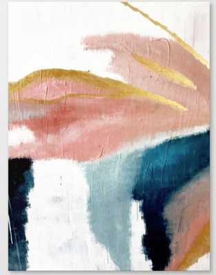 Exhale: a pretty, minimal, acrylic piece in pinks, blues, and gold Canvas Print 24 x 32 - Society6