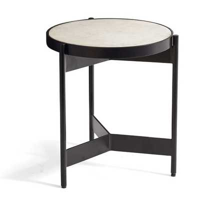 """Warren 15"""" Round Marble End Table - Pottery Barn"""
