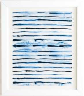 Indigo ink stripes white frame - Wander Print Co.