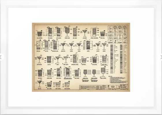 COCKTAIL poster, cocktail chart print Framed Art Print - Society6