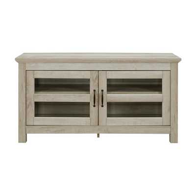 44 in. Wood TV Media Stand Storage Console - White Oak - Home Depot