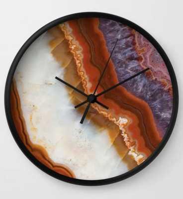 Rusty Amethyst Agate Wall Clock - Black frame, black hands - Society6