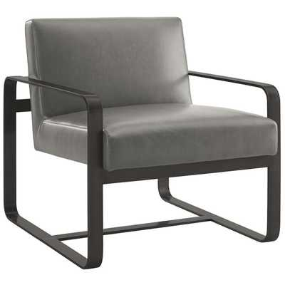 ASTUTE FAUX LEATHER ARMCHAIR IN GRAY - Modway Furniture