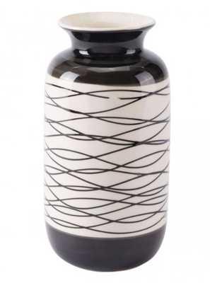 Stripes Short Vase Black & Ivory - Zuri Studios