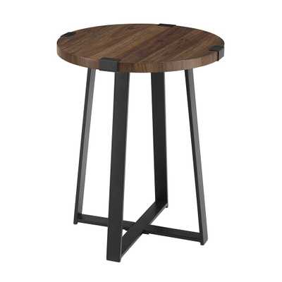 18 in. Dark Walnut Rustic Urban Industrial Wood and Metal Wrap Round Accent Side Table - Home Depot