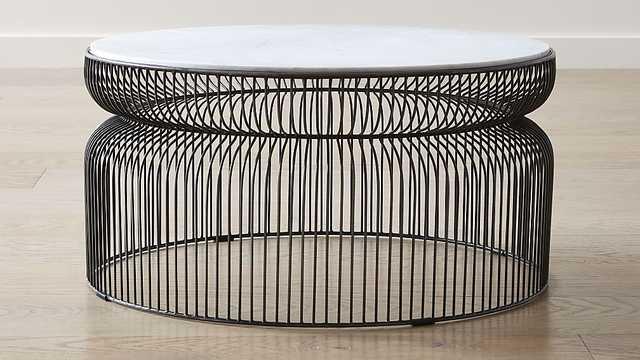 Spoke Marble Graphite Metal Coffee Table - CB2