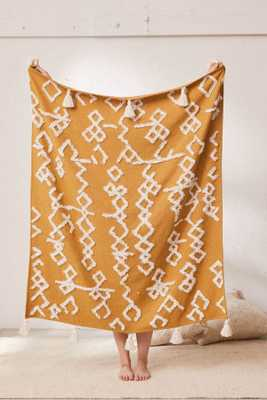 Geo Tufted Tassel Throw Blanket-Honey - Urban Outfitters