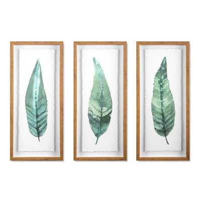 "Set of 3 28""x12"" Framed Leaves Decorative Wall Art White - Threshold™ - Target"