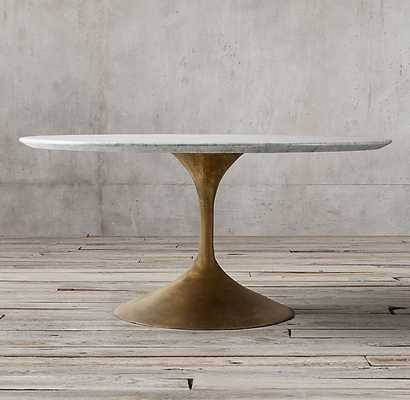 Aero Marble Round Dining Table - Honed Carrara Marble & Antiqued Brass - RH