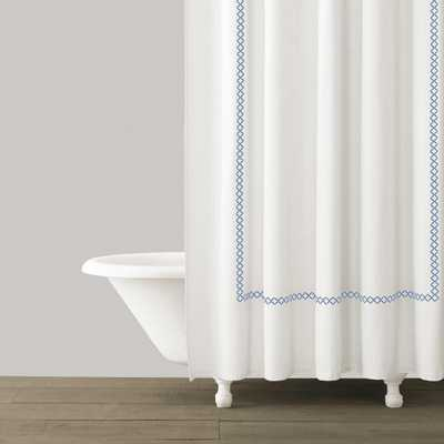 TIVOLI EMBROIDERED SHOWER CURTAIN - BLUE - Kassatex