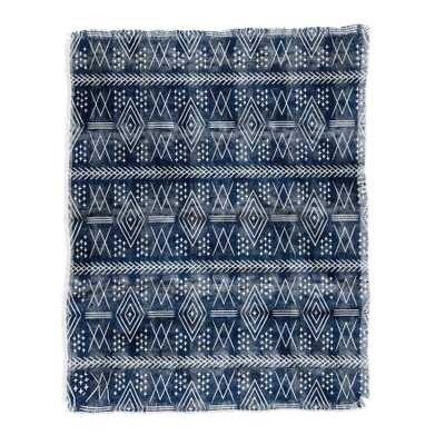 VINTAGE MOROCCAN ON BLUE THROW BLANKET - Wander Print Co.
