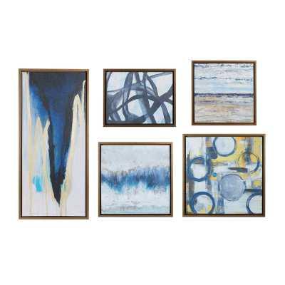 'Blue Bliss' 5 Piece Framed Graphic Art Print Set on Wood - Wayfair