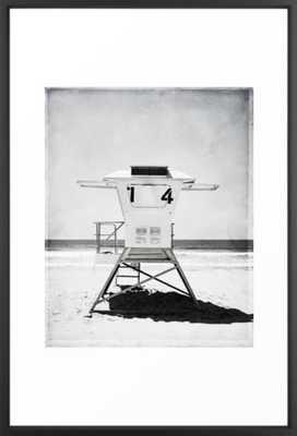 "Black and White Beach Photography, Grey Lifeguard Stand, Gray Coastal Nautical Art Framed Art Print - Vector Black Frame - 26""x38"" - Society6"