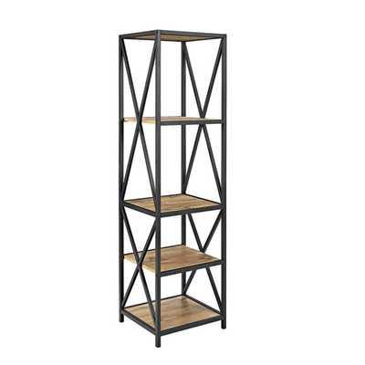 X-Frame Barnwood Metal and Wood Media Bookshelf - Home Depot