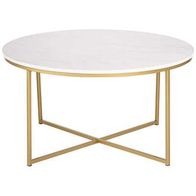 Aurelia Faux Marble and Gold Round Coffee Table - Style # 24W56 - Lamps Plus