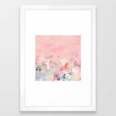 Modern blush watercolor ombre floral watercolor pattern Framed Art Print - 15x21 - white frame - Society6
