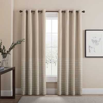 Tremor 84-Inch Grommet 100% Blackout Window Curtain Panel in Tan - Bed Bath & Beyond