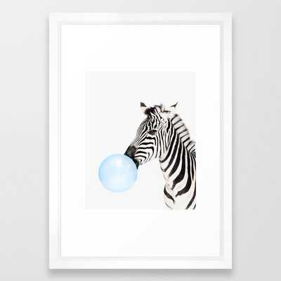 Zebra, Bubble gum, Blue, Animal, Nursery, Minimal, Trendy decor, Interior, Wall art Framed Art Print - Society6