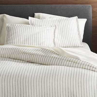 Linen Wide Stripe Warm White Full/Queen Duvet Cover - CB2