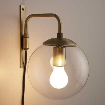 Glass Globe And Brass Wall Sconce - World Market/Cost Plus