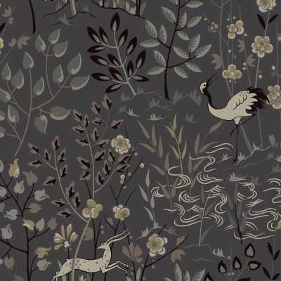 "Urban Retreat 27' x 27"" Aspen Wallpaper Roll -Dark Gray/Beige/Black - Wayfair"