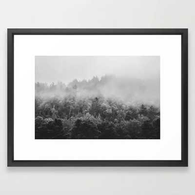 "Landscape Photography | Forest Fog | Black and White Art | Minimalism Framed Art Print - Vector Black - 20""x26"" - Society6"