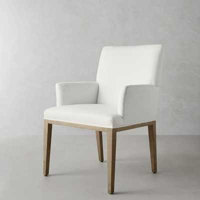 Austin Dining Armchair, Dove, Chunky Linen, White - Williams Sonoma