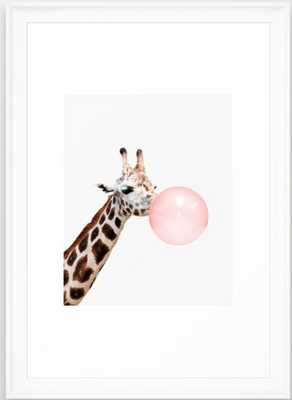 Giraffe, Bubble gum, Pink, Animal, Nursery, Minimal, Trendy decor, Interior, Wall art Framed Art Print - 15x21 - Society6