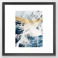 Sunset [1]: a bright, colorful abstract piece in blue, gold, and white by Alyssa Hamilton Art Framed Art Print - Society6
