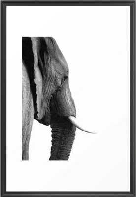 "Black And White Elephant Portrait Framed Art Print - Scoop Black 26"" x 38"" - Society6"