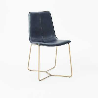 Slope Leather Dining Chair, Leather, Aegean, Antique Brass Leg, Individual - West Elm