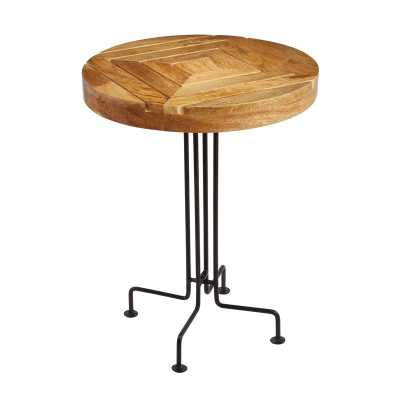 NATURAL MANGO WOOD SLATTED ACCENT TABLE - Rosen Studio