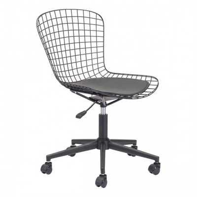 Wire Office Chair Black w/ Black Cushion - Zuri Studios